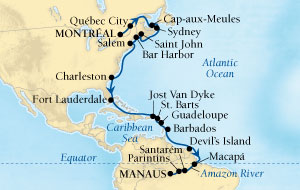 HONEYMOON Seabourn Quest Cruise Map Detail Montreal, Quebec, CA to Manaus, Brazil October 11 November 9 2019 - 29 Days - Voyage 6549A