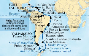 LUXURY CRUISES - Penthouse, Veranda, Balconies, Windows and Suites Seabourn Quest Cruise Map Detail Fort Lauderdale, Florida, US to Valparaiso (Santiago), Chile October 25 December 20 2018 - 56 Days - Voyage 6554B