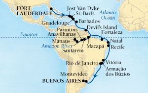 LUXURY CRUISES - Balconies and Suites Seabourn Quest Cruise Map Detail Fort Lauderdale, Florida, US to Buenos Aires, Argentina October 25 November 29 2018 - 35 Days - Voyage 6554A