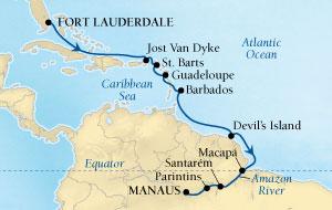 LUXURY CRUISES - Balconies and Suites Seabourn Quest Cruise Map Detail Fort Lauderdale, Florida, US to Manaus, Brazil October 25 November 9 2018 - 15 Days - Voyage 6554