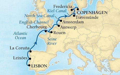 Seabourn Quest Cruise Map Detail Lisbon, Portugal to Copenhagen, Denmark April 30 May 14 2016 - 14 Days - Voyage 6623