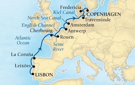 Luxury World Cruise SHIP BIDS - Seabourn Quest CRUISE SHIP Map Detail Lisbon, Portugal to Copenhagen, Denmark April 30 May 14 2023 - 14 Days - Voyage 6623