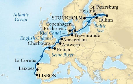 World CRUISE SHIP BIDS - Seabourn Quest CRUISE SHIP Map Detail Lisbon, Portugal to Stockholm, Sweden April 30 May 21 2023 - 21 Days - Voyage 6623A