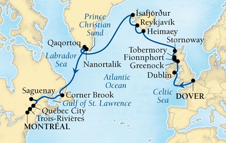 Seabourn Quest Cruise Map Detail Dover (London), England, UK to Montreal, Quebec, Canada August 20 September 11 2016 - 22 Days - Voyage 6644