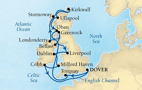 Luxury World Cruise SHIP BIDS - Seabourn Quest CRUISE SHIP Map Detail Dover (London), England, UK to Dover (London), England, UK August 4-20 2023 - 16 Days - Voyage 6639