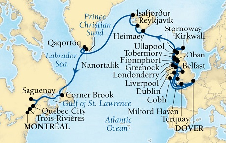 Luxury World Cruise SHIP BIDS - Seabourn Quest CRUISE SHIP Map Detail Dover (London), England, UK to Montreal, Quebec, Canada August 4 September 11 2023 - 38 Days - Voyage 6639A