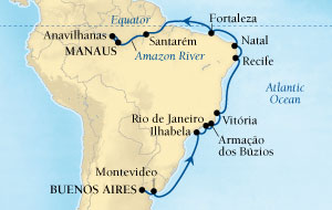LUXURY CRUISES - Penthouse, Veranda, Balconies, Windows and Suites Seabourn Quest Cruise Map Detail Buenos Aires, Argentina to Manaus, Brazil February 24 March 15 2022 - 20 Days - Voyage 6614