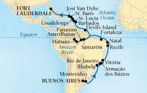 Singles Cruise - Balconies-Suites Seabourn Quest Cruise Map Detail Buenos Aires, Argentina to Fort Lauderdale, Florida, US February 24 March 30 2019 - 35 Days - Voyage 6614A