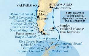 SEABOURN Quest Deals SEABOURN Quest Cruise Map Detail Valparaiso (Santiago), Chile to Buenos Aires, Argentina February 3-24 2026 - 21 Days - Voyage 6611