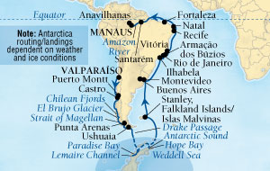 LUXURY CRUISE - Balconies-Suites Seabourn Quest Cruise Map Detail Valparaiso (Santiago), Chile to Manaus, Brazil February 3 March 15 2019 - 41 Days - Voyage 6611A