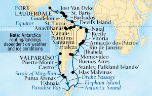 Seabourn Quest Cruise Map Detail Valparaiso (Santiago), Chile to Fort Lauderdale, Florida, US February 3 March 30 2016 - 56 Days - Voyage 6611B