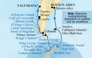 World CRUISE SHIP BIDS - Seabourn Quest CRUISE SHIP Map Detail Buenos Aires, Argentina to Valparaiso (Santiago), Chile January 13 February 3 2023 - 21 Days - Voyage 6610