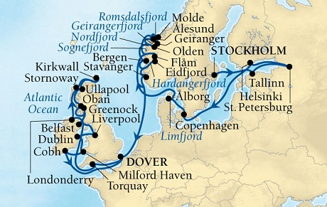 SEABOURN Quest Deals SEABOURN Quest Cruise Map Detail Stockholm, Sweden to Dover (London), England, UK July 16 August 20 2026 - 35 Days - Voyage 6637B