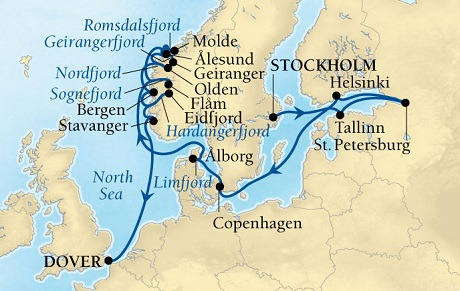 SEABOURN Deals Seabourn Quest Cruise Map Detail Stockholm, Sweden to Dover (London), England, UK July 16 August 4 2016 - 19 Days - Voyage 6637A