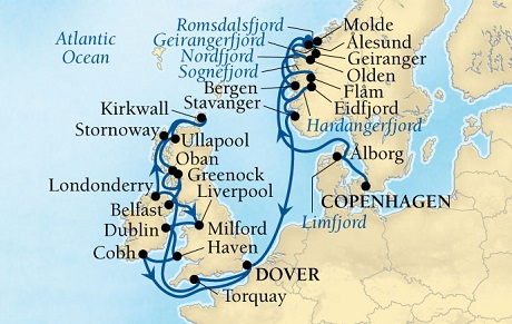 Luxury World Cruise SHIP BIDS - Seabourn Quest CRUISE SHIP Map Detail Copenhagen, Denmark to Dover (London), England, UK July 23 August 20 2023 - 28 Days - Voyage 6638A