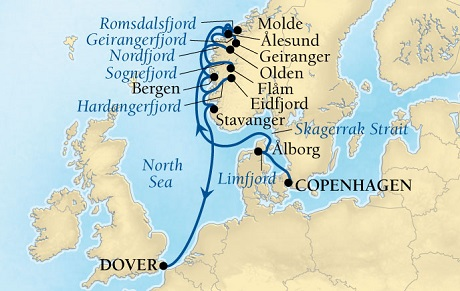 Singles Cruise - Balconies-Suites Seabourn Quest Cruise Map Detail Copenhagen, Denmark to Dover (London), England, UK July23 August 4 2019 - 12 Days - Voyage 6638