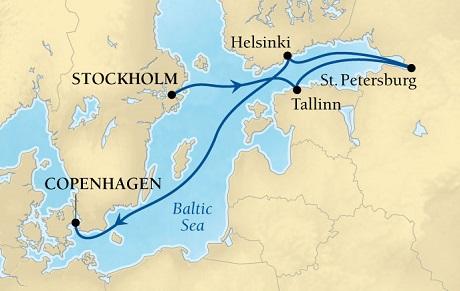 Luxury World Cruise SHIP BIDS - Seabourn Quest CRUISE SHIP Map Detail Stockholm, Sweden to Copenhagen, Denmark June 18-25 2023 - 7 Days - Voyage 6631