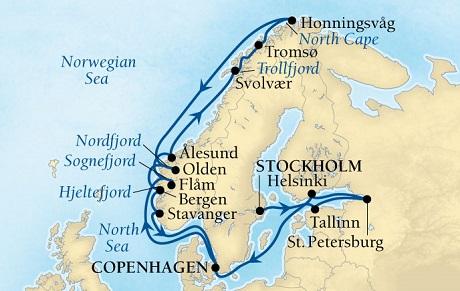 World CRUISE SHIP BIDS - Seabourn Quest CRUISE SHIP Map Detail Stockholm, Sweden to Copenhagen, Denmark June 18 July 9 2023 - 21 Days - Voyage 6631A