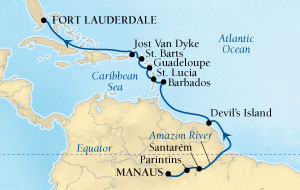 SEABOURN Deals Seabourn Quest Cruise Map Detail Manaus, Brazil to Fort Lauderdale, Florida, US March 15-30 2016 - 15 Days - Voyage 6615