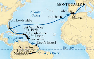 SEABOURN Deals Seabourn Quest Cruise Map Detail Manaus, Brazil to Monte Carlo, Monaco March 15 April 15 2016 - 31 Days - Voyage 6615A