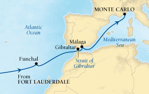 Seabourn Quest Cruise Map Detail Fort Lauderdale, Florida, US to Monte Carlo, Monaco March 30 April 15 2016 - 16 Days - Voyage 6618