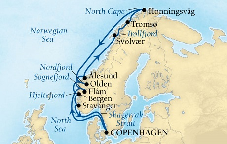 Seabourn Quest Cruise Map Detail Copenhagen, Denmark to Copenhagen, Denmark May 28 June 11 2016 - 14 Days - Voyage 6629