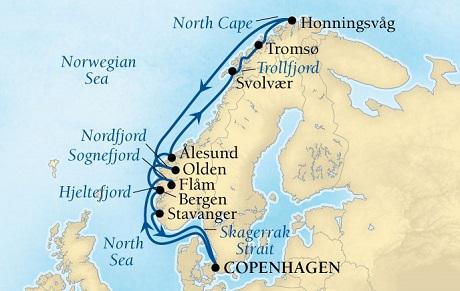 Luxury World Cruise SHIP BIDS - Seabourn Quest CRUISE SHIP Map Detail Copenhagen, Denmark to Copenhagen, Denmark May 28 June 11 2023 - 14 Days - Voyage 6629