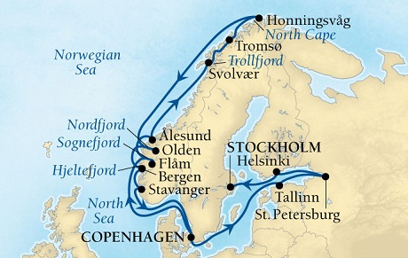SEABOURN Deals Seabourn Quest Cruise Map Detail Copenhagen, Denmark to Stockholm, Sweden May 28 June 18 2016 - 21 Days - Voyage 6629A