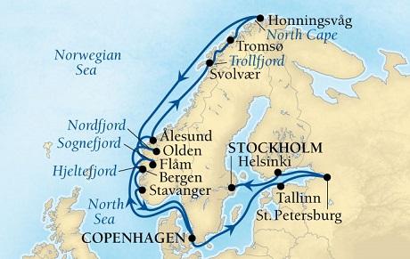 World CRUISE SHIP BIDS - Seabourn Quest CRUISE SHIP Map Detail Copenhagen, Denmark to Stockholm, Sweden May 28 June 18 2023 - 21 Days - Voyage 6629A