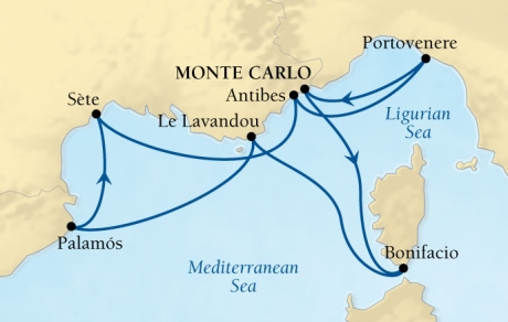 LUXURY CRUISES - Balconies and Suites Seabourn Sojourn Cruise Map Detail Monte Carlo, Monaco to Monte Carlo, Monaco August 15-22 2018 - 7 Days - Voyage 5541