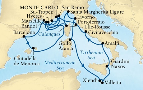 LUXURY CRUISES - Penthouse, Veranda, Balconies, Windows and Suites Seabourn Sojourn Cruise Map Detail Monte Carlo, Monaco to Monte Carlo, Monaco August 22 September 12 2021 - 21 Days - Voyage 5545A