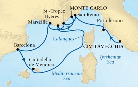 Seabourn Sojourn Cruise Map Detail Civitavecchia (Rome), Italy to Monte Carlo, Monaco August 5-15 2015 - 10 Days - Voyage 5540