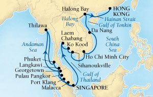LUXURY CRUISES - Penthouse, Veranda, Balconies, Windows and Suites Seabourn Sojourn Cruise Map Detail Singapore to Hong Kong, China December 6 2018 January 3 2019 - 28 Days - Voyage 5563A
