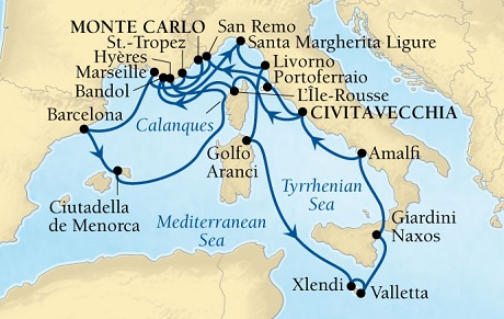LUXURY CRUISES - Penthouse, Veranda, Balconies, Windows and Suites Seabourn Sojourn Cruise Map Detail Civitavecchia (Rome), Italy to Monte Carlo, Monaco July 25 August 15 2021 - 21 Days - Voyage 5539A
