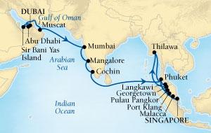 LUXURY CRUISES - Penthouse, Veranda, Balconies, Windows and Suites Seabourn Sojourn Cruise Map Detail Dubai, United Arab Emirates to Singapore November 18 December 20 2021 - 32 Days - Voyage 5558A