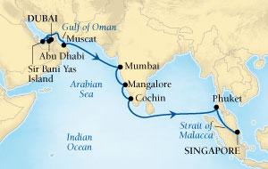 LUXURY CRUISES - Penthouse, Veranda, Balconies, Windows and Suites Seabourn Sojourn Cruise Map Detail Dubai, United Arab Emirates to Singapore November 18 December 6 2021 - 18 Days - Voyage 5558