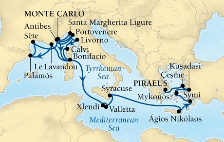 LUXURY CRUISES - Penthouse, Veranda, Balconies, Windows and Suites Seabourn Sojourn Cruise Map Detail Monte Carlo, Monaco to Piraeus (Athens), Greece October 10-31 2021 - 21 Days - Voyage 5553A