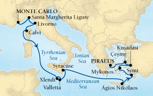 LUXURY CRUISES - Penthouse, Veranda, Balconies, Windows and Suites Seabourn Sojourn Cruise Map Detail Monte Carlo, Monaco to Piraeus (Athens), Greece October 17-31 2018 - 14 Days - Voyage 5554