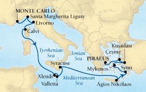 LUXURY CRUISES - Balconies and Suites Seabourn Sojourn Cruise Map Detail Monte Carlo, Monaco to Piraeus (Athens), Greece October 17-31 2018 - 14 Days - Voyage 5554
