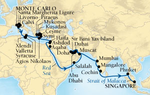 LUXURY CRUISES - Balconies and Suites Seabourn Sojourn Cruise Map Detail Monte Carlo, Monaco to Singapore October 17 December 6 2018 - 50 Days - Voyage 5554B
