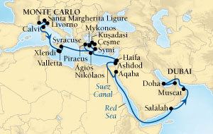 LUXURY CRUISES - Balconies and Suites Seabourn Sojourn Cruise Map Detail Monte Carlo, Monaco to Dubai, United Arab Emirates October 17 November 18 2018 - 32 Days - Voyage 5554A