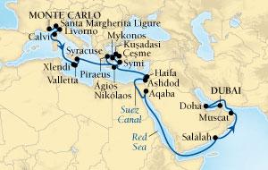LUXURY CRUISES - Penthouse, Veranda, Balconies, Windows and Suites Seabourn Sojourn Cruise Map Detail Monte Carlo, Monaco to Dubai, United Arab Emirates October 17 November 18 2018 - 32 Days - Voyage 5554A