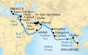 LUXURY CRUISES - Balconies and Suites Seabourn Sojourn Cruise Map Detail Piraeus (Athens), Greece to Singapore October 31 December 6 2018 - 36 Days - Voyage 5557A