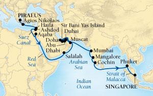 LUXURY CRUISES - Penthouse, Veranda, Balconies, Windows and Suites Seabourn Sojourn Cruise Map Detail Piraeus (Athens), Greece to Singapore October 31 December 6 2021 - 36 Days - Voyage 5557A