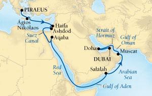 LUXURY CRUISES - Balconies and Suites Seabourn Sojourn Cruise Map Detail Piraeus (Athens), Greece to Dubai, United Arab Emirates October 31 November 18 2018 - 18 Days - Voyage 5557