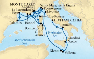 LUXURY CRUISES - Balconies and Suites Seabourn Sojourn Cruise Map Detail Monte Carlo, Monaco to Civitavecchia (Rome), Italy September 12-30 2018 - 18 Days - Voyage 5547A