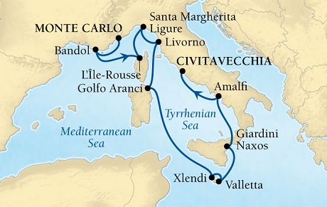 LUXURY CRUISES - Penthouse, Veranda, Balconies, Windows and Suites Seabourn Sojourn Cruise Map Detail Monte Carlo, Monaco to Civitavecchia (Rome), Italy September 19-30 2021 - 11 Days - Voyage 5548