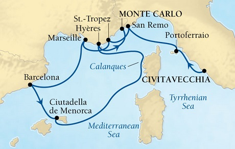 LUXURY CRUISES - Balconies and Suites Seabourn Sojourn Cruise Map Detail Civitavecchia (Rome), Italy to Monte Carlo, Monaco September 2-12 2018 - 10 Days - Voyage 5546