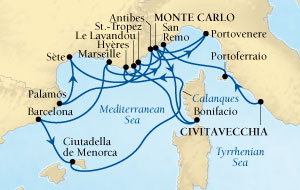 LUXURY CRUISES - Balconies and Suites Seabourn Sojourn Cruise Map Detail Civitavecchia (Rome), Italy to Monte Carlo, Monaco September 2-19 2018 - 17 Days - Voyage 5546A