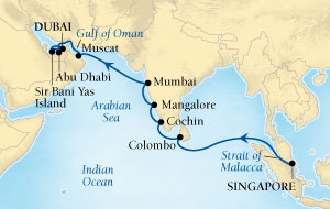 SEABOURN Sojourn Deals SEABOURN Sojourn Cruise Map Detail Singapore to Dubai, United Arab Emirates April 17 May 5 2026 - 18 Days - Voyage 5623